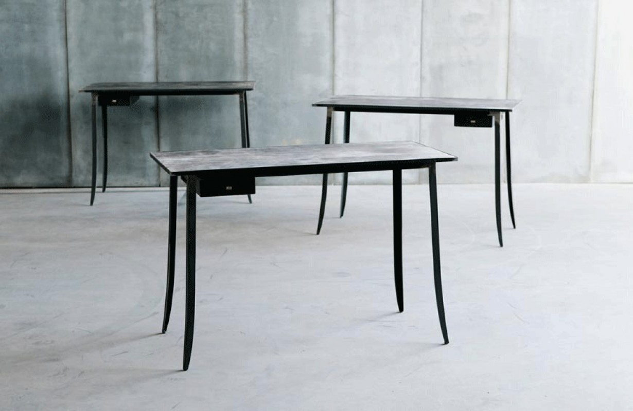 Small contemporary office desk metal industrial style
