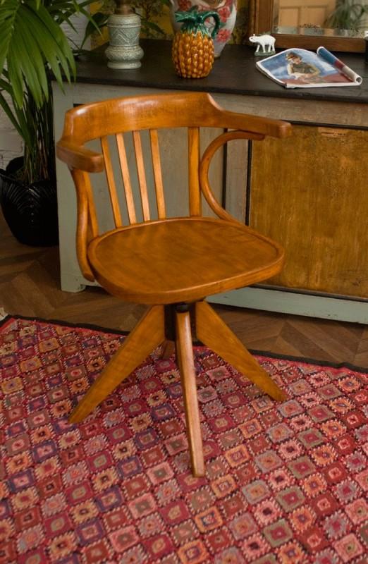 fauteuil vintage fauteuil r tro ann es 50 fauteuil baumann fauteuil de bureau bois vernis. Black Bedroom Furniture Sets. Home Design Ideas