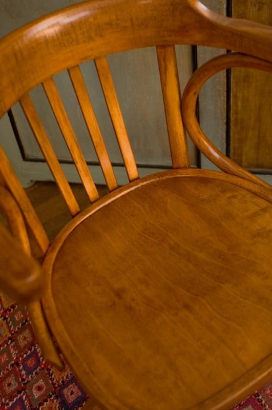 fauteuil vintage, fauteuil rétro, années 50, fauteuil baumann, fauteuil de bureau, bois, vernis  # Fauteuil De Bureau Bois