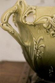 Cache-pot barbotine vert, 1900 - VENDU