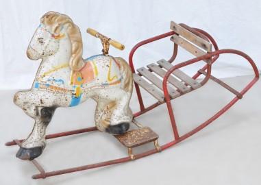 Vintage metal rocking horse, 1930 - SOLD