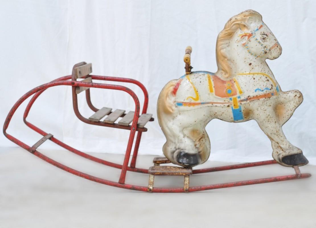 Vintage White Metal Rocking Horse 1930 30 S Vintage