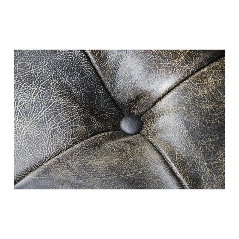 Pouf repose pieds kensington cuir capitonn vintage noir noir vieilli for Pouf cuir vieilli