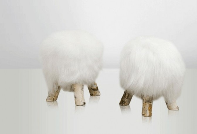 Tabouret Shetland blanc