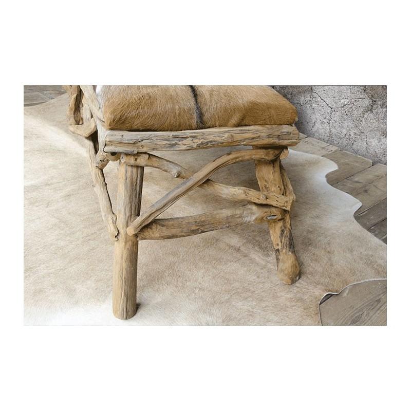 Bench Driftwood Cushion Seats Covered Goatskin Indonesia