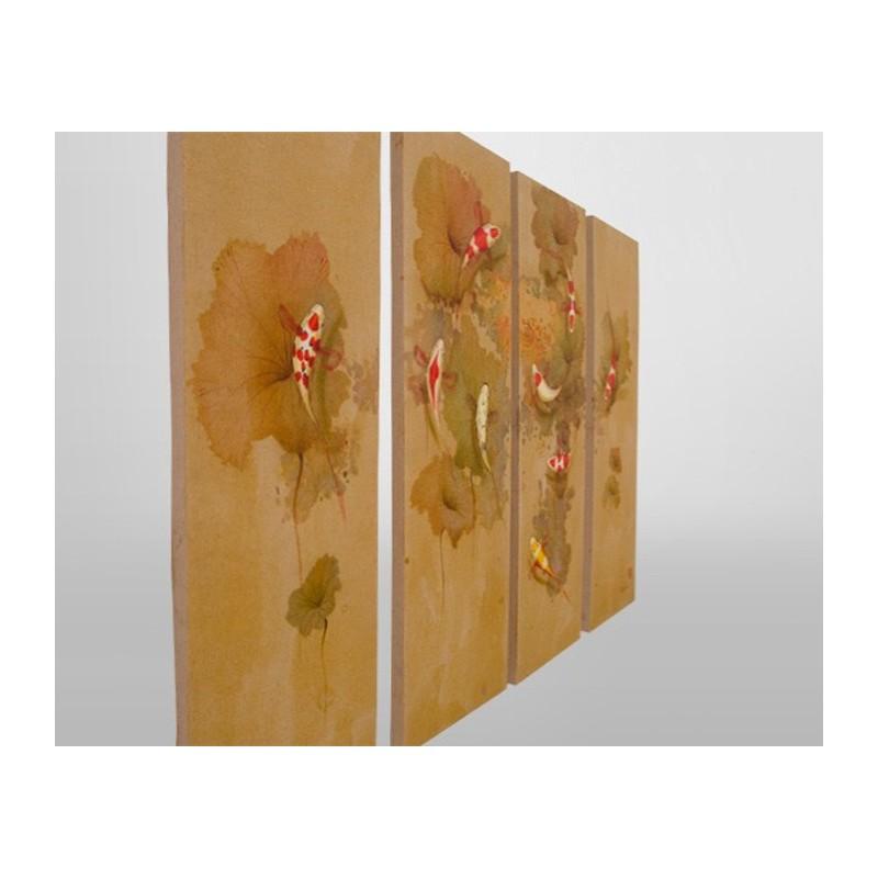 panneau d coratif peinture chinoise poisson. Black Bedroom Furniture Sets. Home Design Ideas