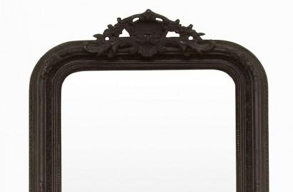 """Miroir Cheminée """"Rocaille"""" noir"""