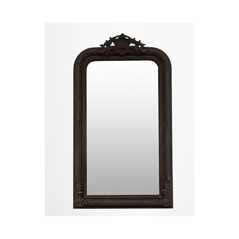 miroir ancien miroir chemin e miroir d coratif noir style louis philippe cadre bois perl. Black Bedroom Furniture Sets. Home Design Ideas