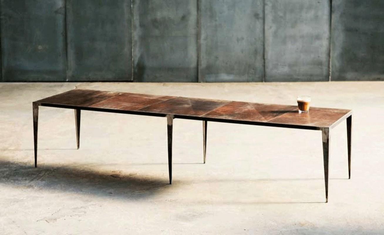 Table basse cuir m tal sur mesure pi tement aiguilles for Table basse sur mesure