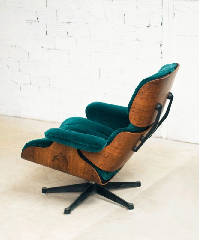 Charles Eames Lounge Chair Fauteuil Charles Eames Velours Vert - Fauteuil lounge eames