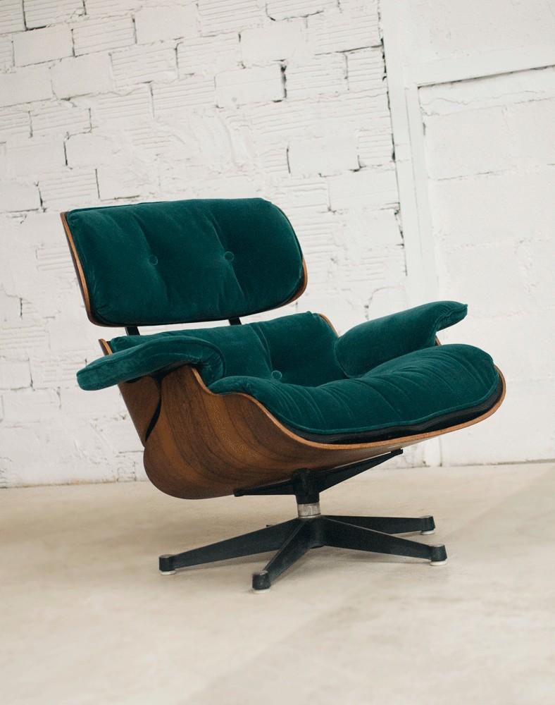 eames fauteuil charles eames, lounge chair, fauteuil charles eames, velours vert, vitra,  authentique, véritable, palissandre, velours, rubelli