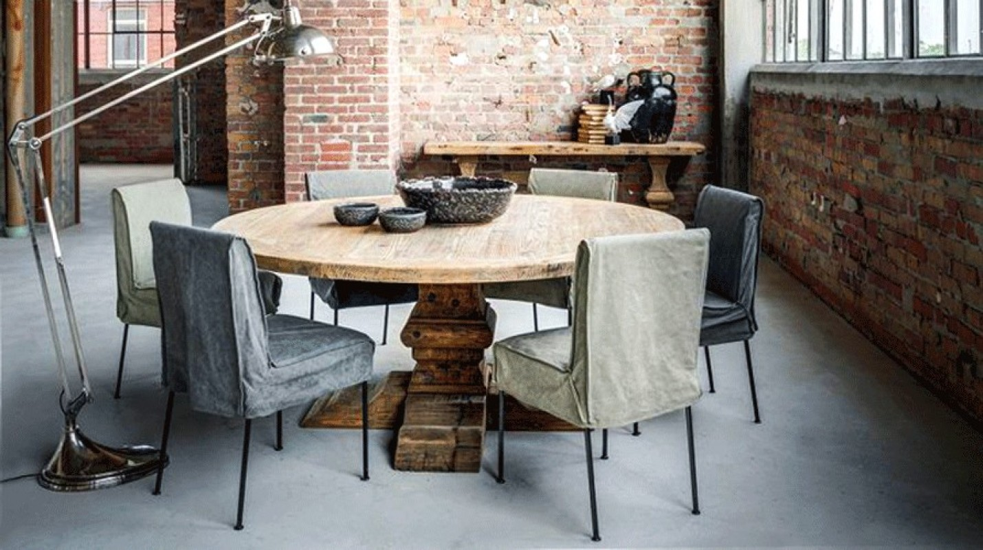 Grande et belle table ronde bois massif de salle manger for Table salle a manger hemisphere sud
