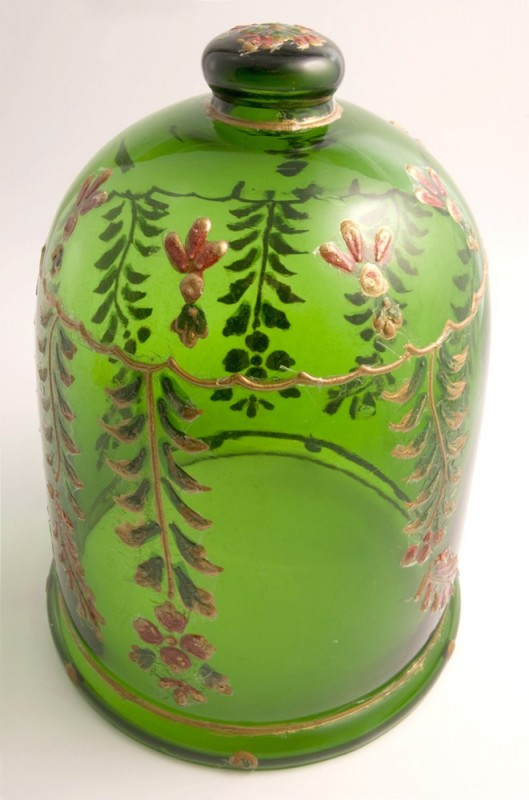 Green Glass Jar With Hand Painted Plant Motifs Antique