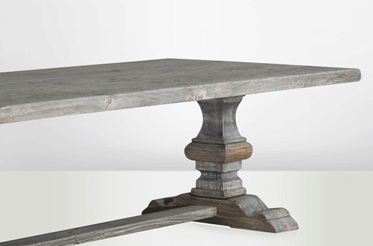 Monastery table farm table grey wood poplar pine recycled wood old wood - Table monastere relookee ...