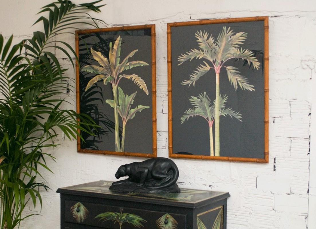 panneaux d coratifs gravures anciennes palmiers. Black Bedroom Furniture Sets. Home Design Ideas