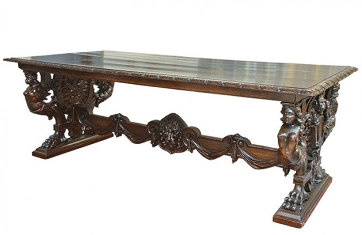 Xvi century italian table walnut roman cartibulum for Table en verre italienne