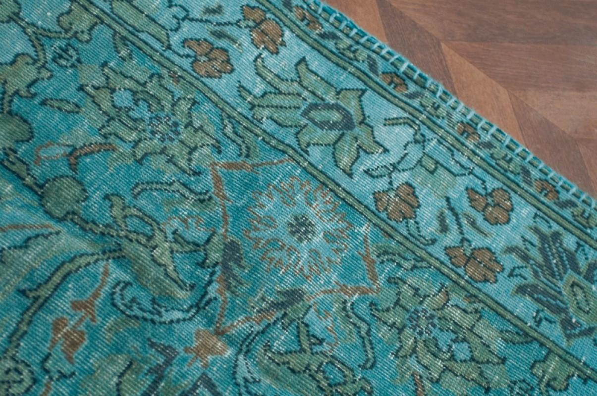 Large Carpet Beautiful Rug Turquoise Blue Isparta Turkey Unique Piece Wool Cotton Handmade