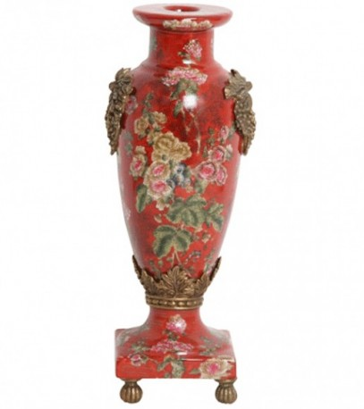 Bougeoir Porcelaine rouge et laiton
