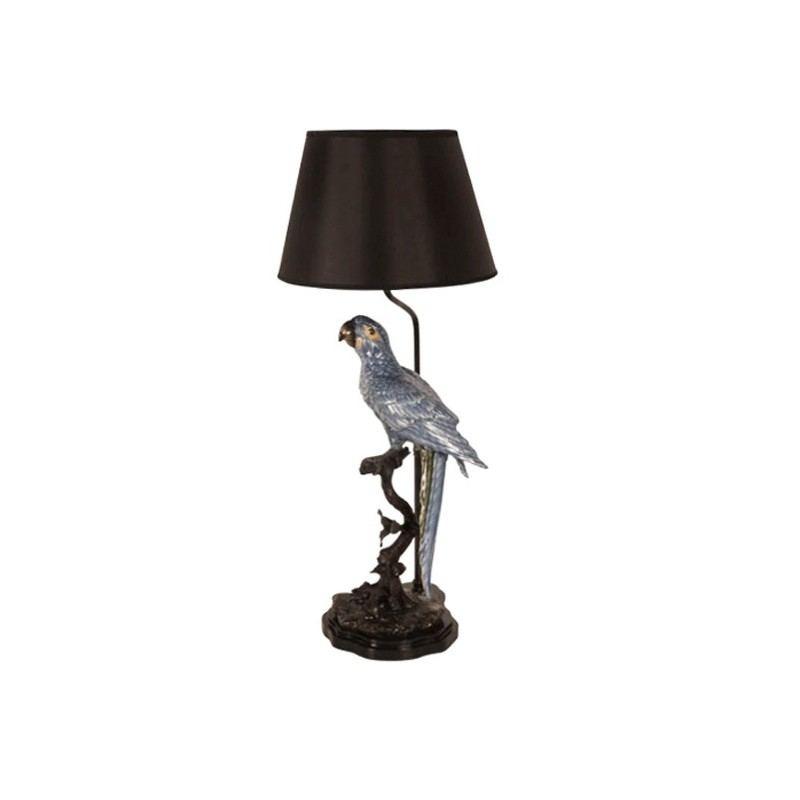 Table Lamp With Its Large Blue Porcelain Parrot On A Brass Branch