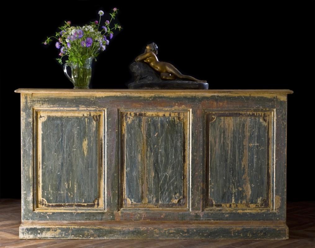 Comptoir d 39 picerie avec tag res restylis es meuble for Meuble asiatique ancien