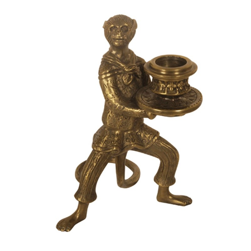 Funny Candle Holder Made In Brass Little Monkey Trained
