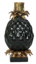 Bougeoirs Ananas noir, la paire
