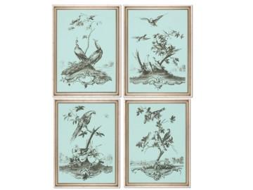 Gravures Céladon aux oiseaux, set de 4