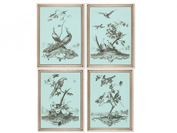 Gravures Céladon aux oiseaux