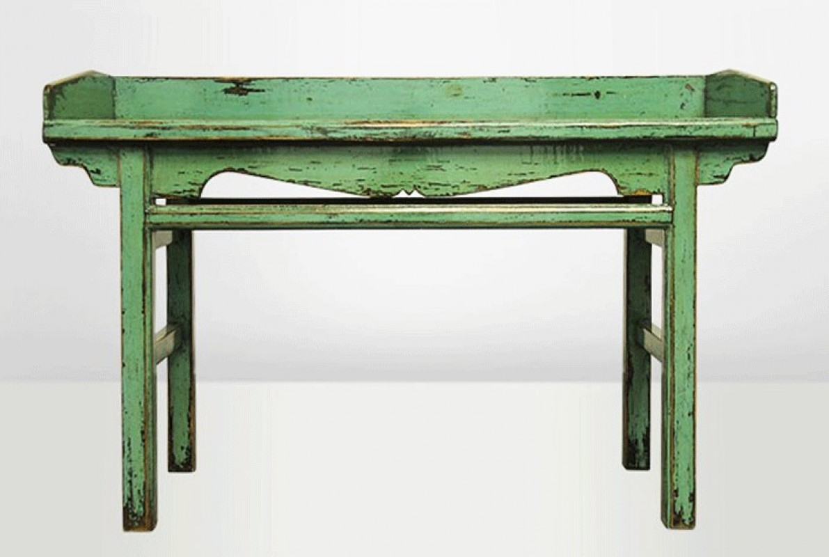 antique vintage lacquered office desk china small table pine green jade green. Black Bedroom Furniture Sets. Home Design Ideas
