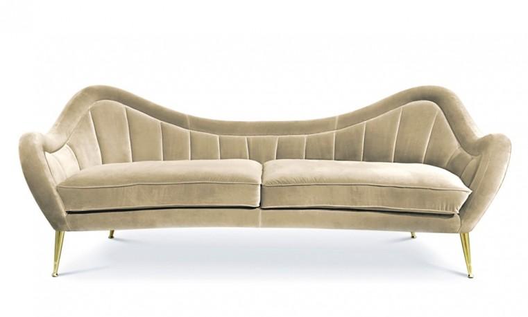 """""""Rita"""", Ivory Velvet Sofa"""