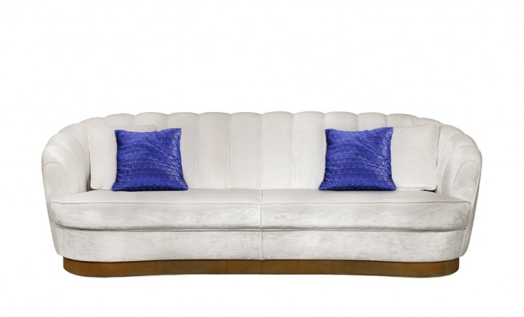 White Pearl Velvet Sofa Lana