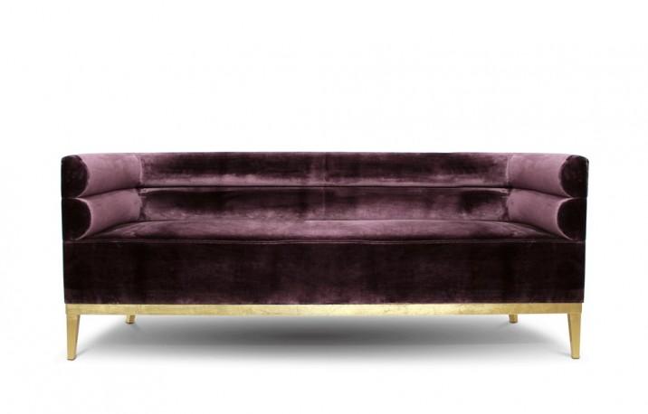 Canapé en velours pourpre Judy