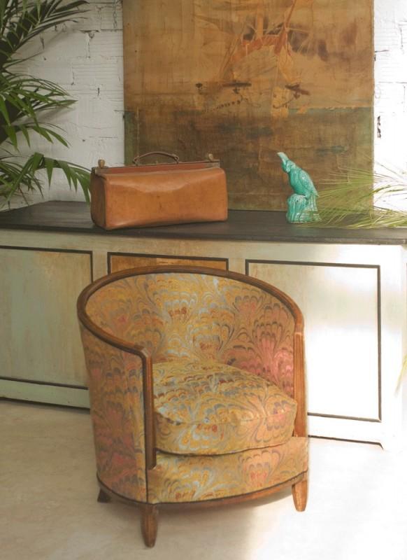 fauteuil tonneau ancien vintage art d co 1920 ann es. Black Bedroom Furniture Sets. Home Design Ideas