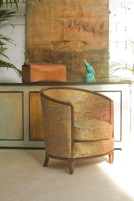fauteuil tonneau ancien vintage art d co 1920 ann es 20 authentique. Black Bedroom Furniture Sets. Home Design Ideas