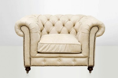 Fauteuil Chesterfield cuir ivoire