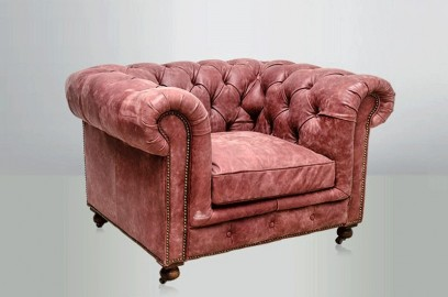 Chesterfield Armchair - Powdery Pink