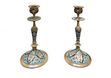 Cloisonné Candle Sticks - France 1880