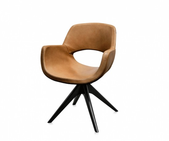 Fauteuil Betty - Cuir Cannelle