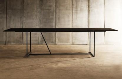 Dining Table W Black Solid Oak - 300 cm