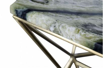 Table d'appoint en marbre vert Shiny