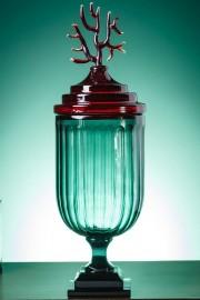 Drageoir cannelé en verre bleu