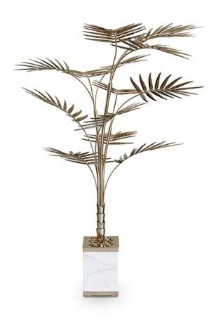 Le Lampadaire Palmier laiton doré et marbre de carrare