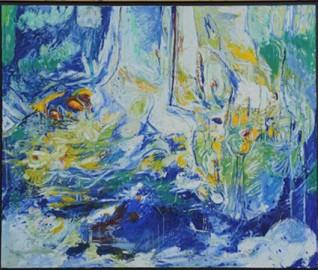 """Art Contemporain, Huile sur Toile """"Les Nymphéas"""" de Fidélie Cardi - Prix sur Demande"""