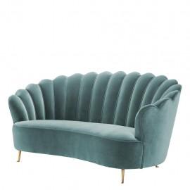 Canapé Velours Bleu Turquoise Chiara Style Années 50