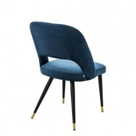 Chaise Cipria Velours Bleu
