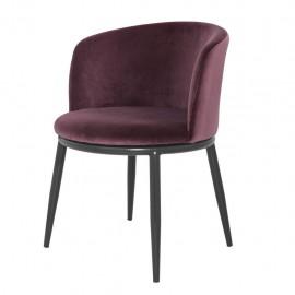 Chaises Balmore velours Violet, set de 2