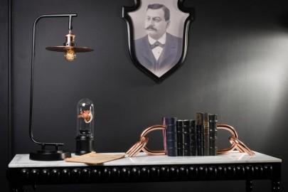 Black and copper desk lamp