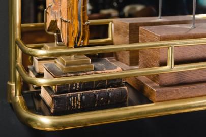 Rectangular mirror with brass gallery