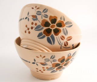 Antique Bowls from Sarreguemines factory, France