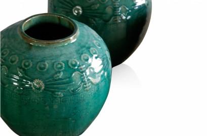 Hand painted glazed ceramic vase